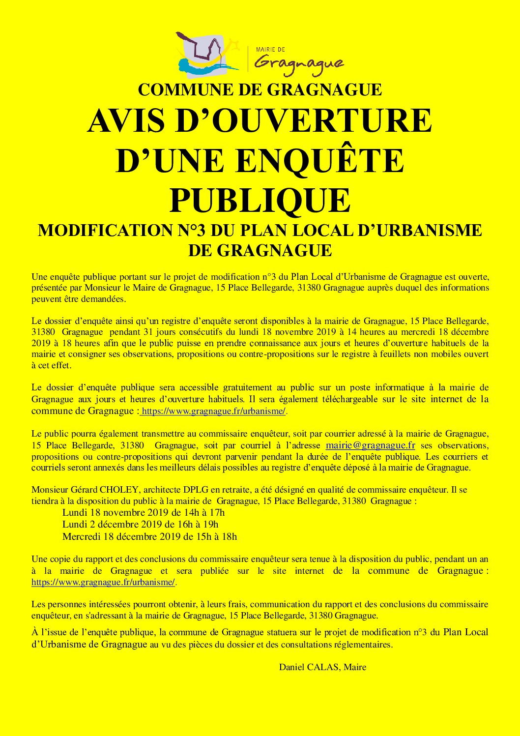 Avis d'ouverture d'une enquête publique : modification n°3 du Plan Local d'Urbanisme de Gragnague